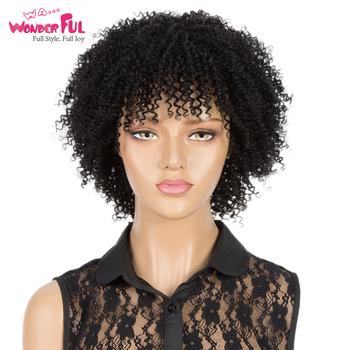 Krótki Afro peruki z włosami kręconymi typu Kinky peruki z ludzkich włosów dla czarnych kobiet Ombre P1b 30 peruki pełna maszyna wykonana 100 peruki ludzkie brazylijski Remy tanie i dobre opinie WA WONDERFUL Remy włosy Jerry curl Brazylijski włosy Średnia wielkość Ciemniejszy kolor tylko