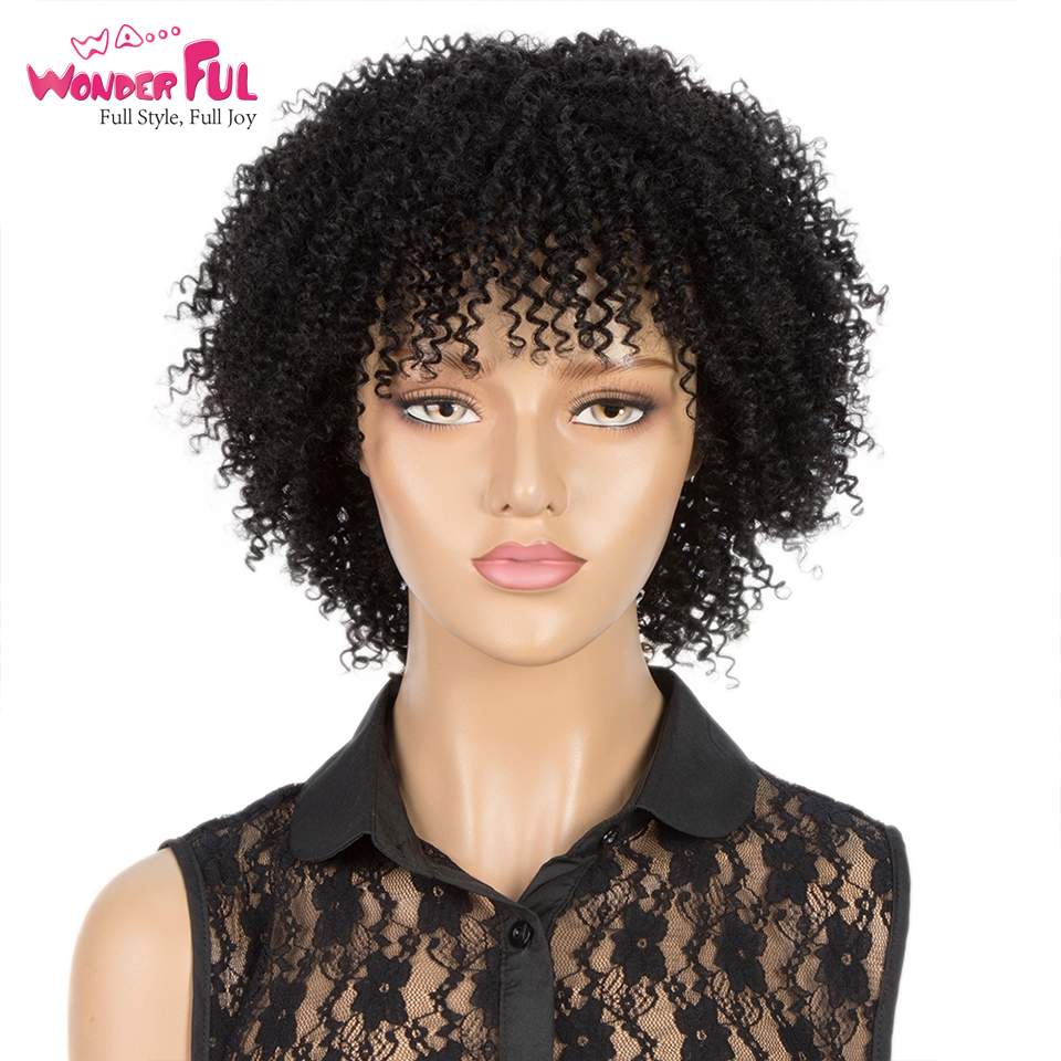 Short Afro Kinky Curly Wigs Human Hair Wigs For Black Women Ombre P1b/30 Wigs Full Machine Made 100% Human Wigs Brazilian Remy