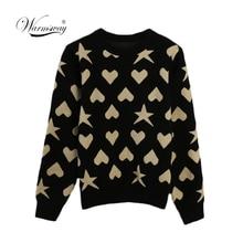 Frauen Neue vintage Herz Stern Jacquard warme pullover Kontrast Farbe lurex pullover herbst strick retro tops blusas C 473