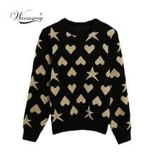 Kobiety nowy vintage serce gwiazda żakardowe ciepły sweter kontrast kolor lurex sweter jesień dzianiny bluzki retro blusas C 473