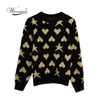 Women New vintage Heart Star Jacquard warm sweater Contrast Color lurex pullover autumn knitted retro tops blusas C 473