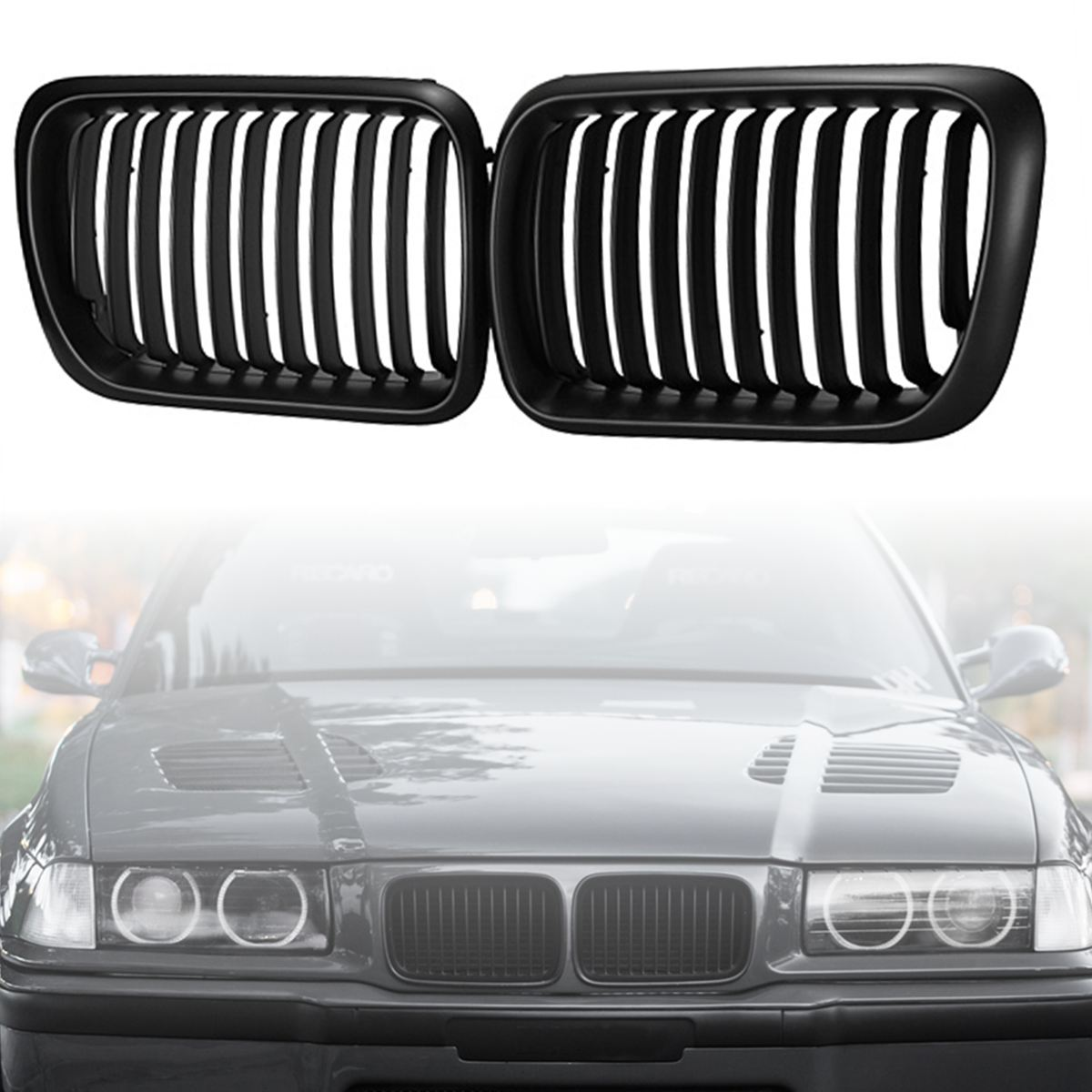 2pcs Factory Style Car Front Kidney Sport Grille Grill for BMW E36 318i 323i 1997 1998 1999