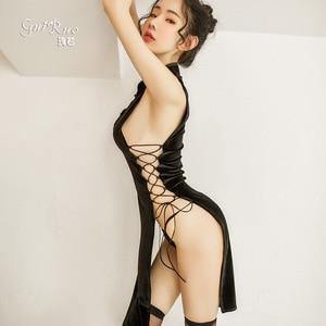 Sexy Sleepdress Bandage Split Nightclub Uniform Retro Cheongsam Pajamas Chinese Style Hollow Qipao Nightclub Babydoll Lingerie