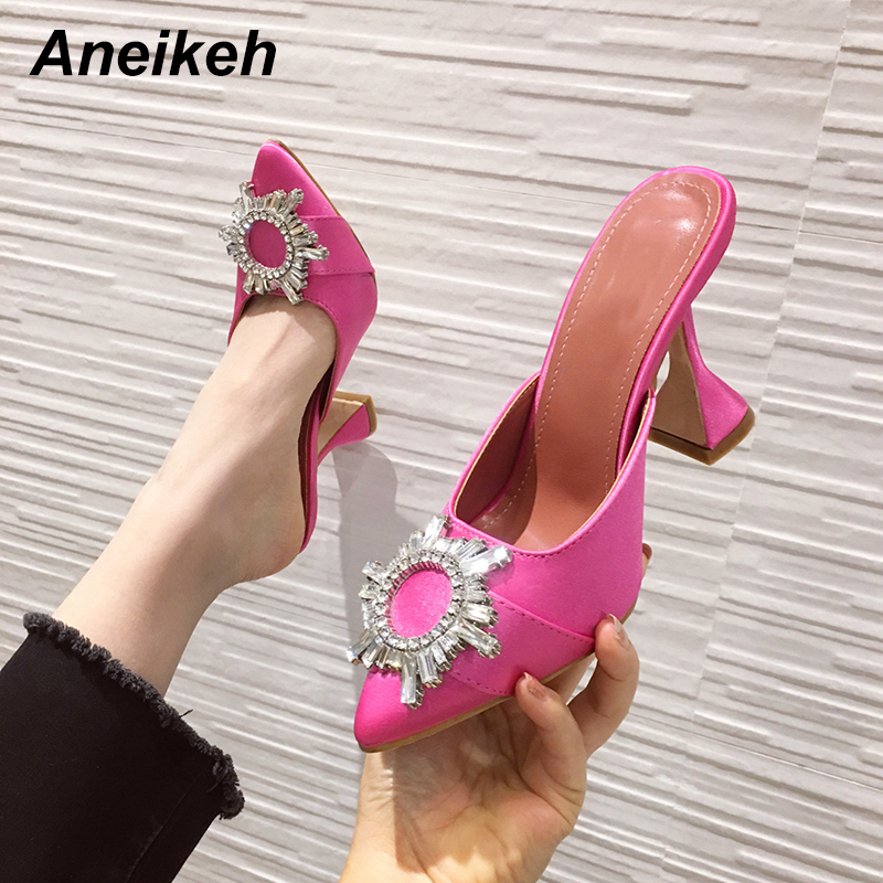 Aneikeh Summer Fashion Sandals Women Silk Satin Pointed Toe Rhinestone Crystal High Heels Lady Wedding Slip On Pumps Party Shoes