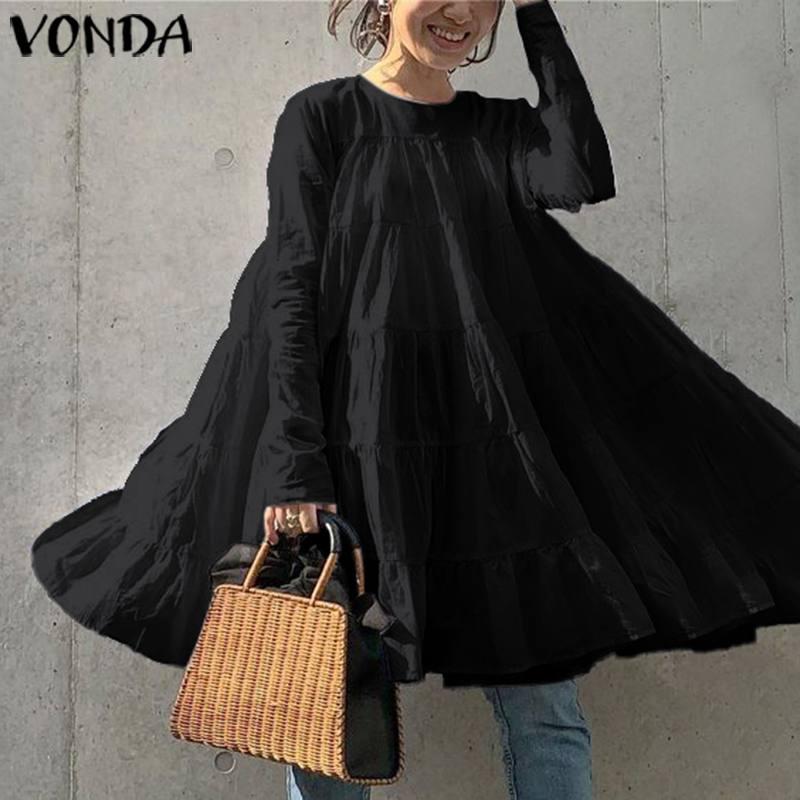 VONDA Mini Dress Women Sexy O Neck Long Sleeve Solid Color Party Dress 2020 Summer Holiday Sundress Casual Loose Vestidos 5XL