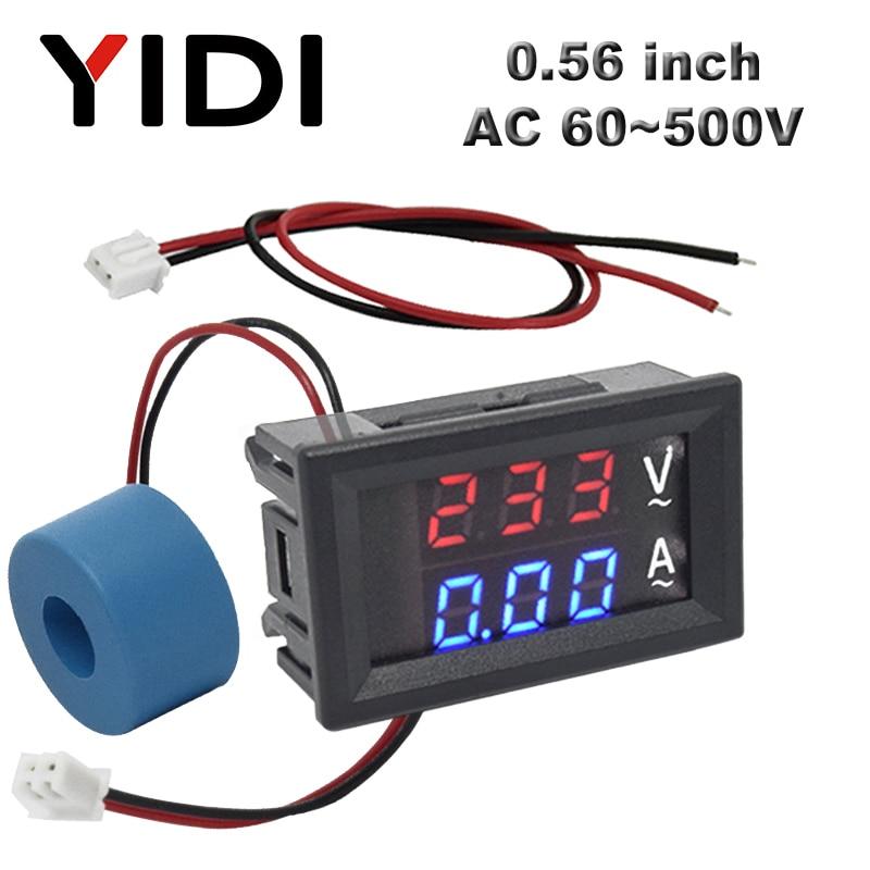 Цифровой вольтметр, амперметр с ЖК-дисплеем 0,56 дюйма, переменный ток 60-500 в 10 А 50 А 220 В