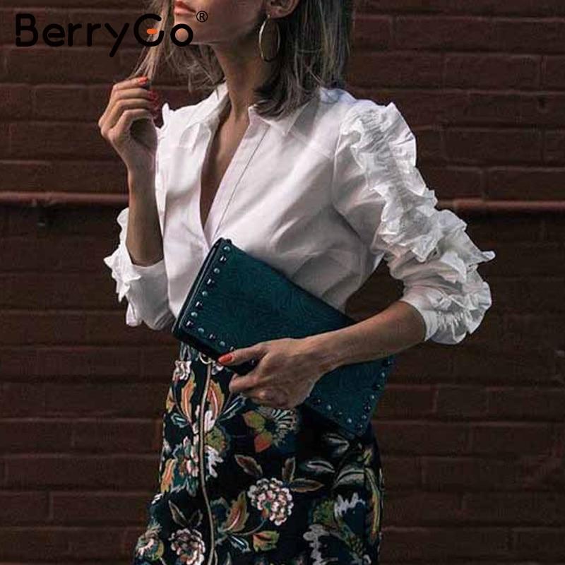 BerryGo Elegant White Blouse Women Autumn Lapel Ruffled Female Transparent Blouses Sexy V-neck Office Ladies Work Wear Shirts