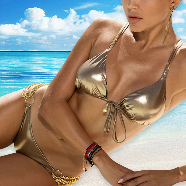 Shinny Solid Color Glitter Bikini with Gold Side Chains 2