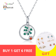StrollGirl Hot sale 925 Sterling Silver Leaf & Ladybird Necklaces with CZ Cute Animal Necklace Women Jewelry Gift for Girlfriend
