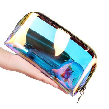 Holographic Cosmetic Bag Transparent Makeup Case for Women 2020 Pouch Toiletry Travel PVC Organizer Fashion - discount item  17% OFF Special Purpose Bags