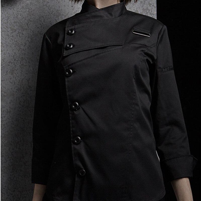 Weibliche Schwarz Weiß Poly Baumwolle Langarm Shirt & Schürze Hotel Restaurant Koch Uniform Catering Küche Mitarbeiter Kochen Arbeit Tragen d33 - 4