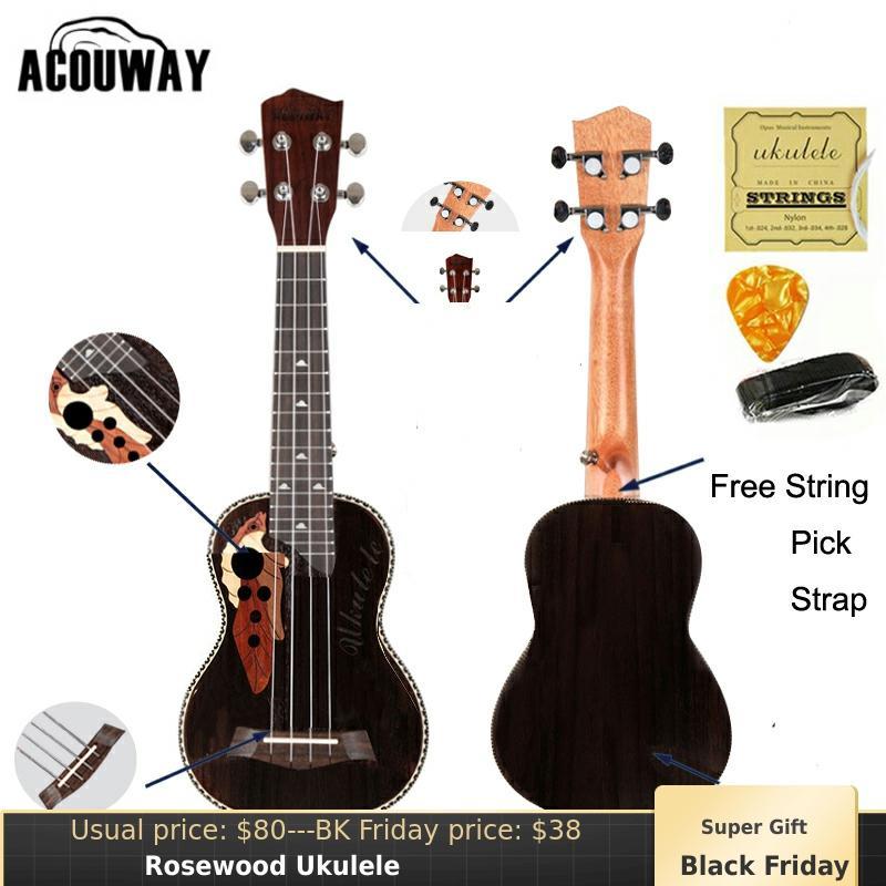 Acouway Ukulele Soprano Concert Ukulele 21 23 Rosewood Uku Ukelele With Aquila String Mini Hawaii Guitar Musical Instruments