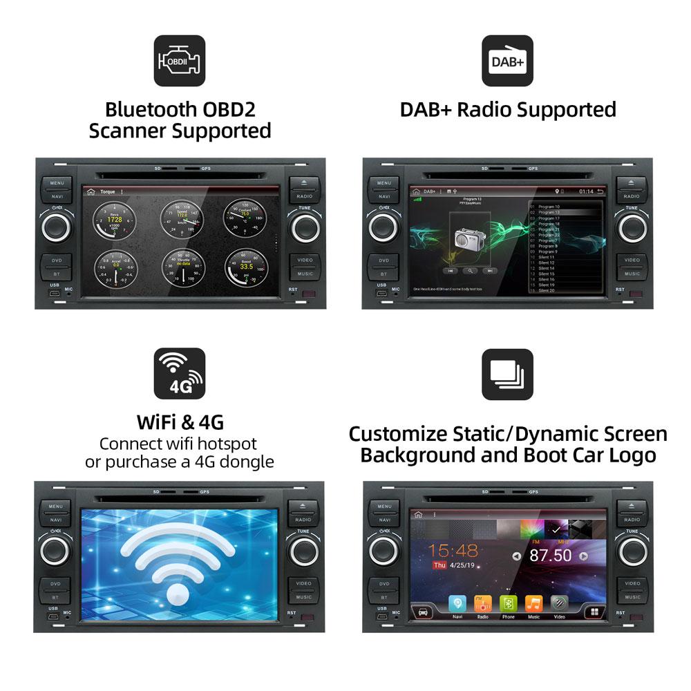 Image 3 - Bosion 2 din Android coche GPS para Ford Mondeo Ford S max Focus C MAX Galaxy Fiesta de tránsito fusión conectar kuga reproductor de DVD 4GB 64GBReproductor multimedia para coche   -