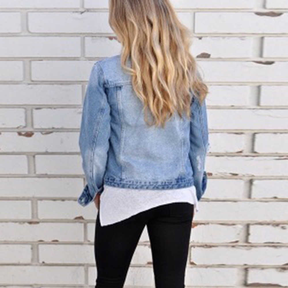 Jaket Denim Wanita Musim Gugur Retro Lengan Panjang Jaket Jeans Chaqueta Mujer 2019 Pacar Tombol Mantel Streetwear Jaqueta