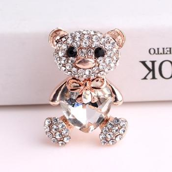 TODOX broszka moda damska kreskówka kryształ z wykwintnym uroczy miś z serduszkami gorąca sprzedaż w stylu party prezent