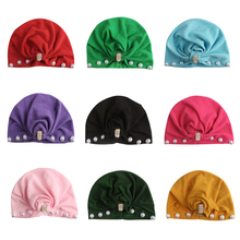 Peral Baby Caps Girl Turban Beanie Solid Head Wraps Headbands For Girls Soft Hat Elastic Hair Bands Newborn Accessories New