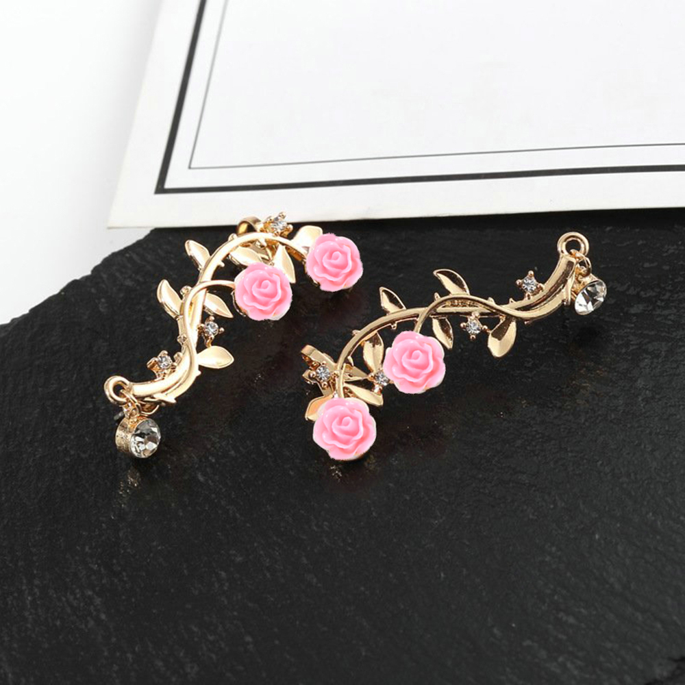 New Fashion Lady Gold Pink Rose Leaf Flower Ear Stud Cuff Earring Women Jewelry Pendientes Princesas Boucle D'oreille Cristal 3