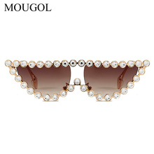 MOUGOL Diamond tiny pearl carter Frame Cat Eye Sunglasses Women Vintage Triangle Shades Rhinestone Sunglasses For Female Metal triangle insert metal cat eye sunglasses