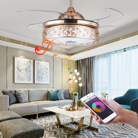 LED Bluetooth Music Ceiling Fan Light with Bluetooth Gold Branch Jade Leaf Bluetooth Ceiling Fan with Light