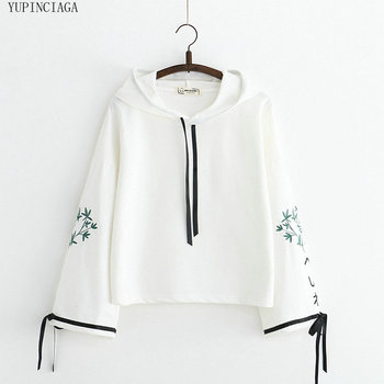 Women's Harajuku Embroidered Hoodie Loose Simple Casual Lace Up Sweatshirt 2020 New Sweet Style Long Sleeve Pullovers black embroidered hoodie long sleeves mini sweatshirt