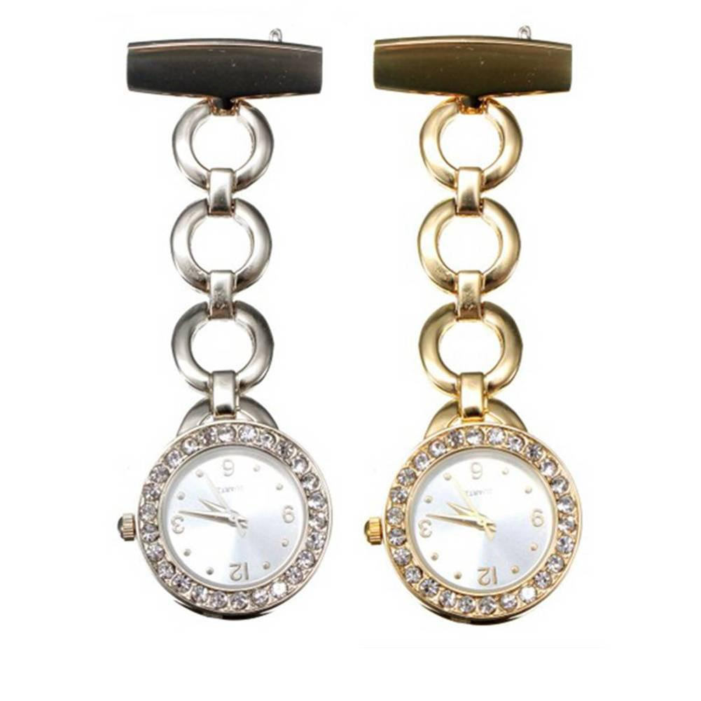 Luxury Rhinestone Round Dial Nurse Watch Brooch Pin Quartz Fob Pockets Watch ladies women doctor smile Medical watches