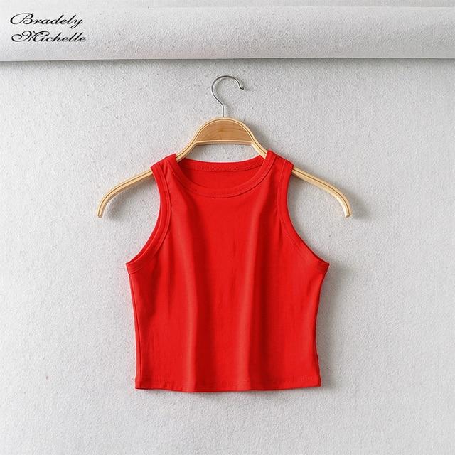 BRADELY MICHELLE 2020 Summer Women's party cotton Crop Tops sexy Elastic Solid sleeveless o-neck Short Tank Top Bar 5