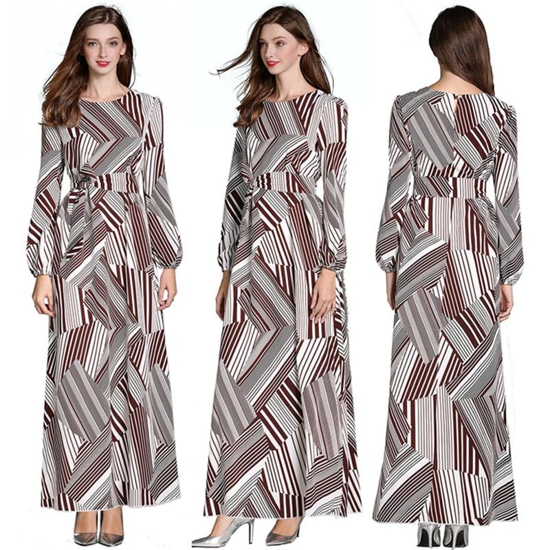 2019 nouvelles rayures femmes longue Robe musulmane arabe caftan Dubai Robe robes avec ceinture à manches longues décontracté modeste Robe vêtements