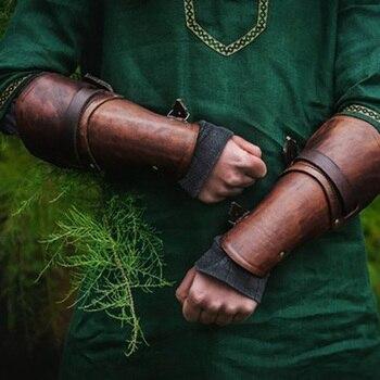 Medieval luchador brazaletes brazo armadura protección vikingos Guerrero gladiador bárbaro brazaletes anchos brazales para Larp SCA los hombres salvajes