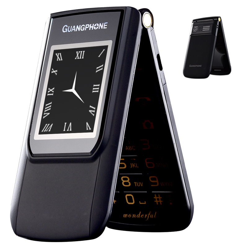 2G GMS Slim Flip Dual Screen Cheap Senior Touch Mobile Phone SOS Speed Dial Dual Sim  Russian Key Cell Phone For Elder P047