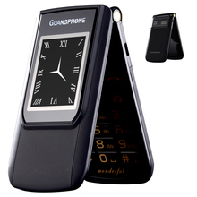 2G GMS Slim Flip Dual Screen Cheap Senior Touch Mobile Phone SOS Speed Dial Dual