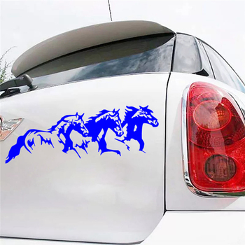 CS-1563# running horses reflective funny car sticker waterproof self-adhesive vinyl decal for auto car stickers styling car styling 3d car stickers funny auto ball hits car body window sticker self adhesive baseball tennis decal accessories