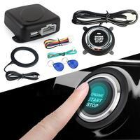 12 v carro inteligente sistema de alarme push motor start stop botão bloqueio ignição imobilizador com remoto keyless ir sistema entrada Sistema de arranque sem chave     -