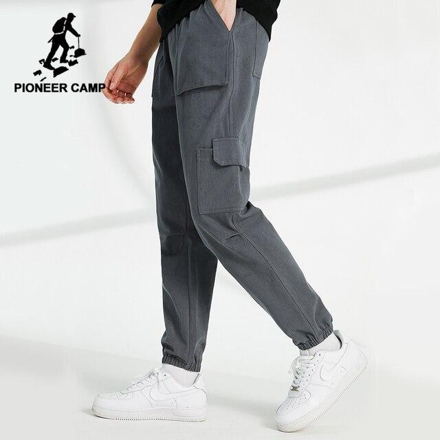 Pioneer Camp spodnie na co dzień mężczyźni luźna odzież uliczna 100% bawełna czarny szary Cargo spodnie dla mężczyzn AXX902322