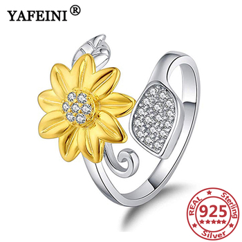 YAFEINI 925 Sterling Silver Sunflower Rings for Woman Cubic Zircon Silver 925 Jewelry Valentine's Day Gifts Mother's Day Gifts