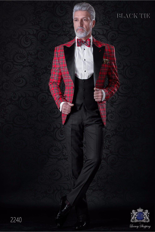 2020 New Arrival Red Plaid Blazer Suit Men Slim Fit Peaked Lapel Men Suits For Wedding Fashion Groom Tuxedo 3 Piece Prom Suits