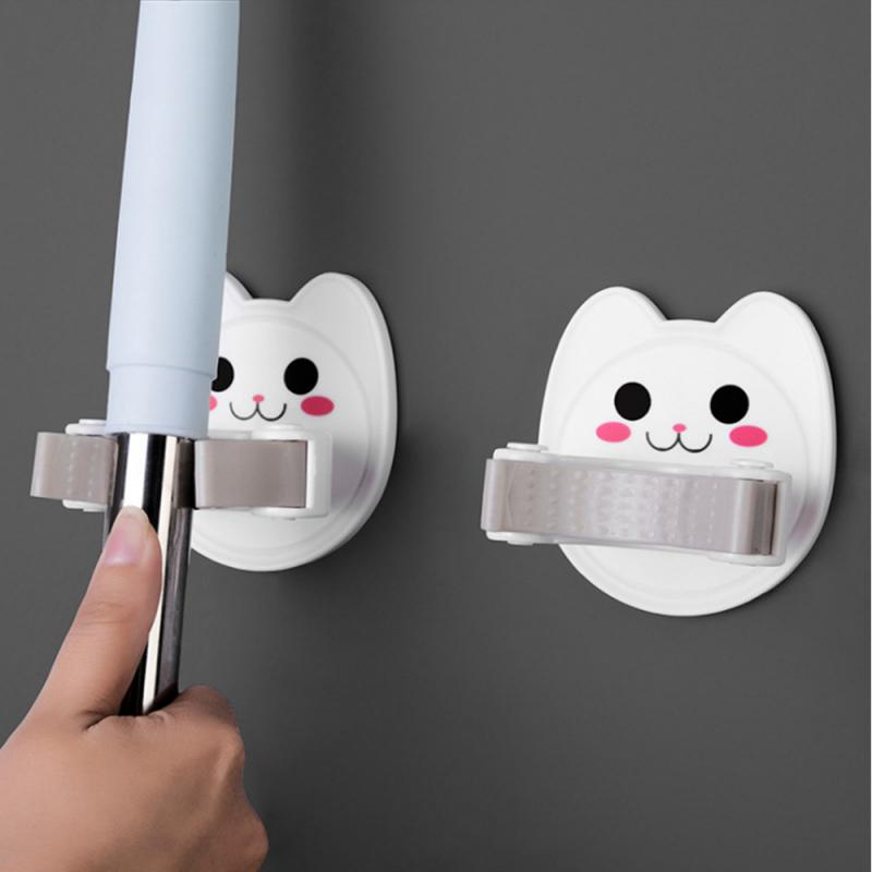 Multi-Purpose Mops Hooks Wall Mounted Mop And Broom Storage Holder Self-Adhesive Seamless Stickers Mop Rack For Kitchen Bathroom