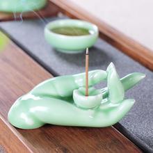 Buddha Backflow Incense Burner Hand Holder Smoke Waterfall Stick Zen White Ceramic Censer Crafts