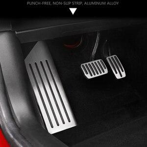 Image 2 - Aluminium legierung Fuß Pedal Für Tesla Modell 3 Accelerator Gas Kraftstoff Bremspedal Rest Pedal Pads Matten Abdeckung Zubehör Auto styling