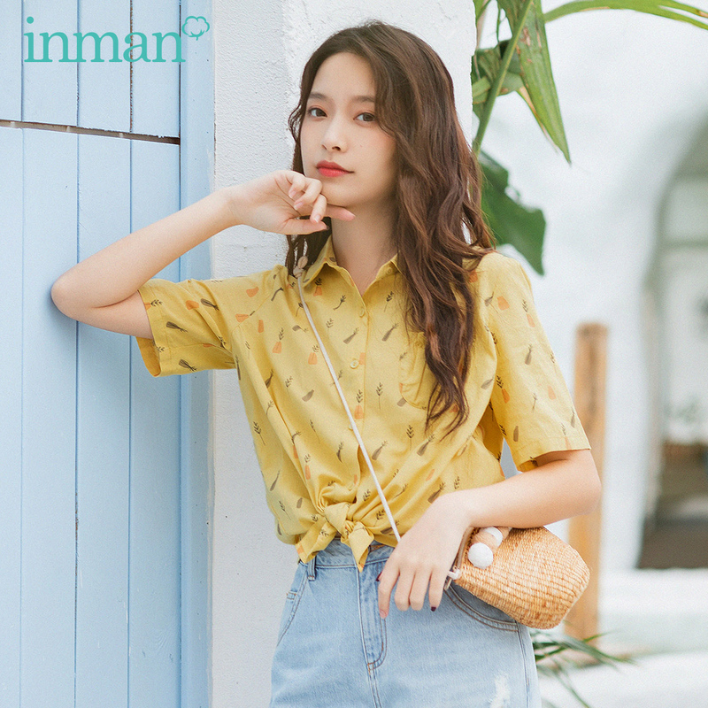 INMAN Summer New Arrival Trun Down Collar Cute Print Fashion Young Girl Holiday Style Blouse
