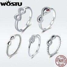 WOSTU Лидер продаж 925 пробы Серебряное Бесконечное Кольцо для женщин и девушек S925 Кольца на палец серебряные ювелирные изделия свадебный подарок DXR332