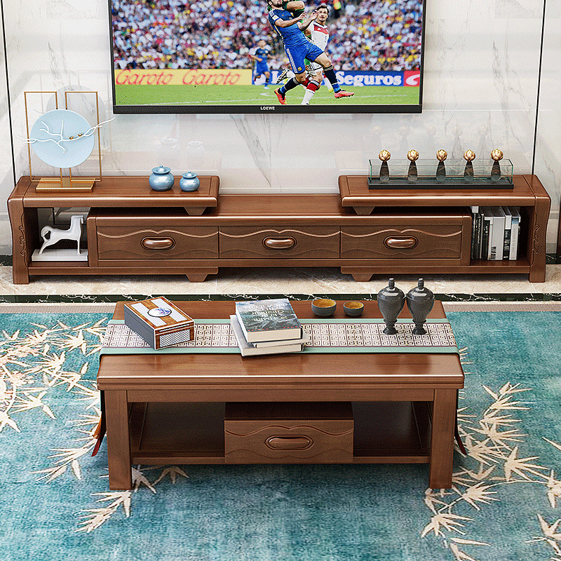 Removable Extendable Solid Wood TV Cabinet Living Room Modern Chinese Style Solid Wood TV Cabinet With Economical 181 #