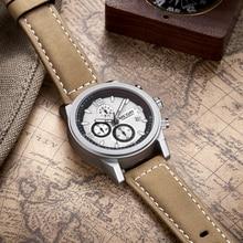 цены MEGIR Fashion Sport Watch Men Luxury Brand Men Quartz Watches Chronogragph Clock Leather Band Army Military Wrist Watch 2026