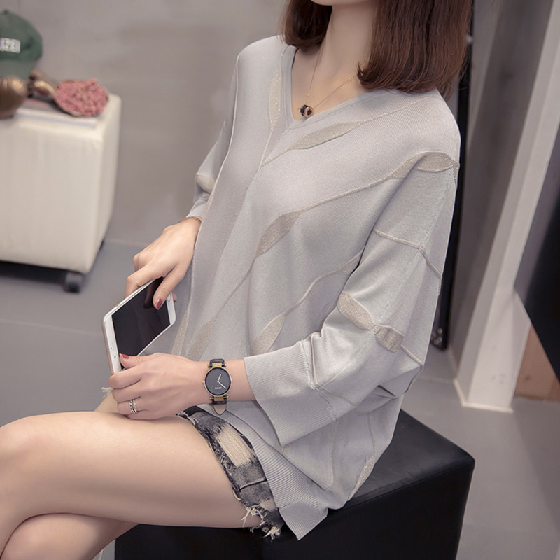 Plus Size V Neck Knit Wear Pullover 2020 New Spring Women Trendy Loose Lurex Batwing Sleeve Sweater Oversized Korean Chic Tops
