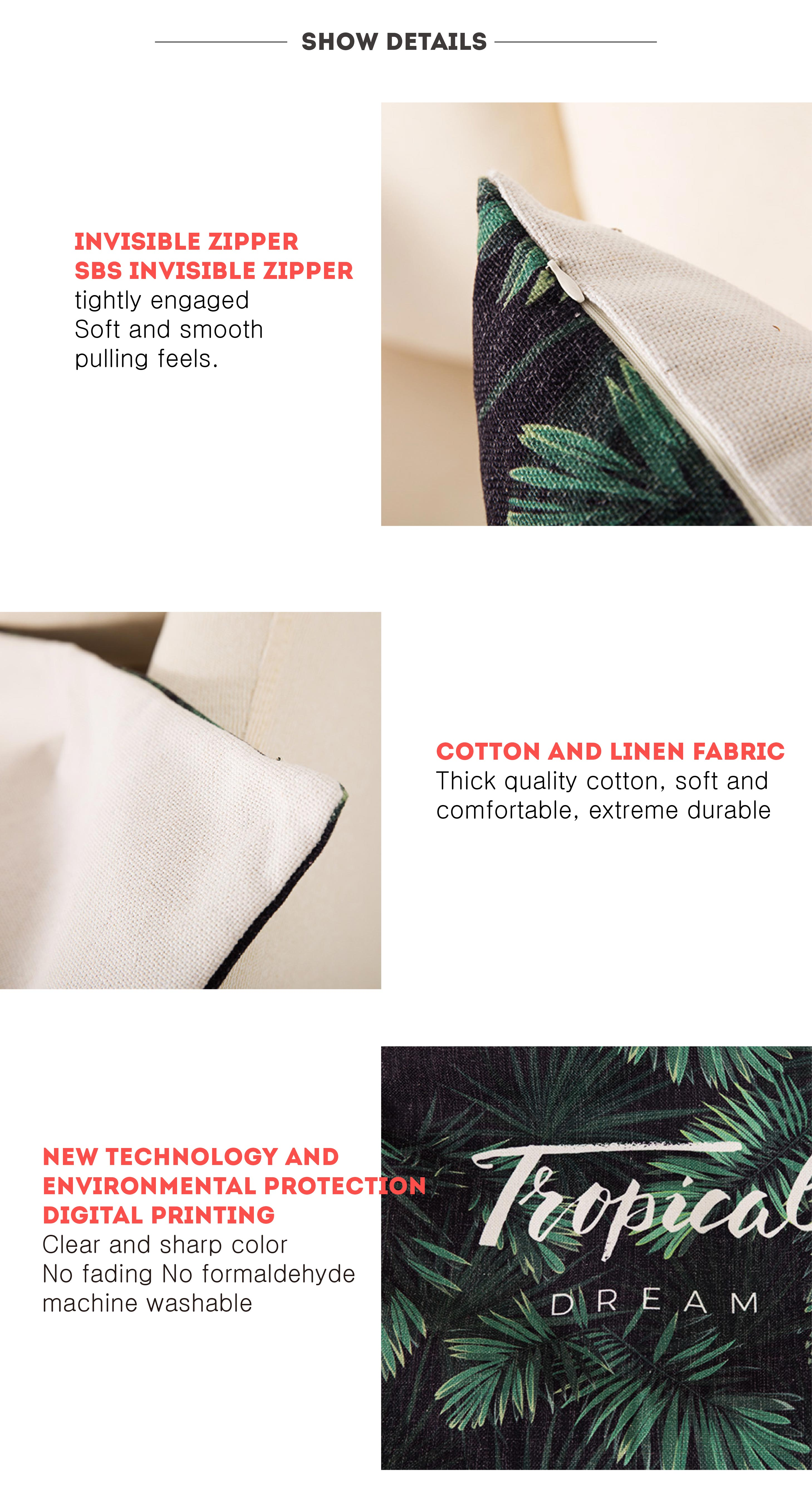 Hed20899d6ad34b8fa9112f5d730355bbi Deer Cushion Cotton Two side printed linen Cartoon stripes tropical plants European style