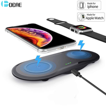 DCAE 10W Qi Wireless Charger Dock For iPhone 11 XS XR X 8 2 in 1 Fast Charging Pad for Apple Watch iwatch 6 5 4 3 2 Airpods Pro