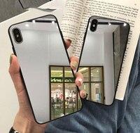 Funda de silicona con espejo completo para iphone, carcasa de lujo para iphone 7, 8, 6, 6S Plus, X, 10, xr, XS, 12, 11 Pro MAX, ostentosa, suave, de TPU, a prueba de gotas
