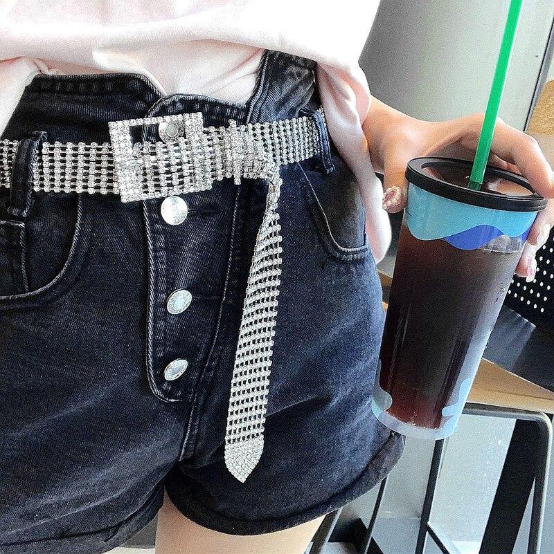 1PCs Women Shiny Belt Waist Chain Crystal Diamond Waistband Full Rhinestone Luxury Wide Party Club Belt Sequin Waistband 120*3CM