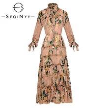 SEQINYY Elegant Long Dress 2020 Summer Spring New Fashion Design Sleeve Draped Ruffles Women Slim Vintage