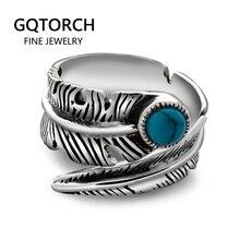 אמיתי 925 כסף סטרלינג טבעות לגברים ונשים בציר נוצת טבעת עם אבן טבעית תכשיטי מתכוונן פתיחת סוג