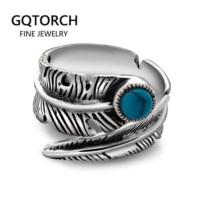 Real 925 Sterling Silver Rings For Men And Women Vintage Feather Ring With Natural Stone Jewelry Adjustable Opening Type